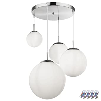 RGB LED Pendel Hänge Leuchte Ess Zimmer Glas Kugel Decken Lampe FERNBEDIENUNG