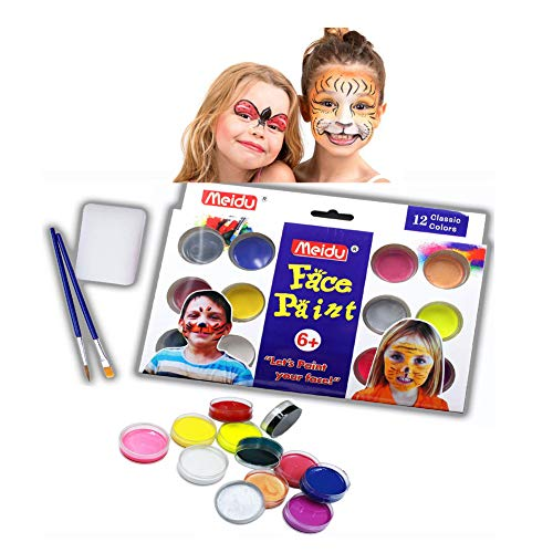 Face Paint Kits for Kids - 12 Vibrant Colors Professional Painting No Skin Damage Non-Toxic Body Paint Certified-Safe & 2 Brush for Halloween Superbowl Party]()