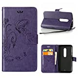 MOONCASE Moto X Play Case, Vintage Emboss Butterfly Flip Leather Wallet Cover for Motorola Moto X Play XT1561 Bookstyle Folio Stand Case with Card Pocket and Wrist Strap Purple