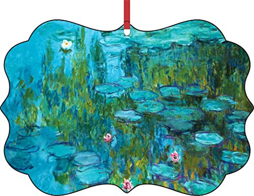 Artist Claude Monet's Light Blue Nympheas-TM Double-Sided Benelux Aluminum Holiday Hanging Tree Ornament. Made in the USA! -