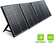 PAXCESS RV Solar Panel, 120W 18V Portable Folding Solar Panel with USB QC 3.0, Type C Output, Off-Grid Emergen