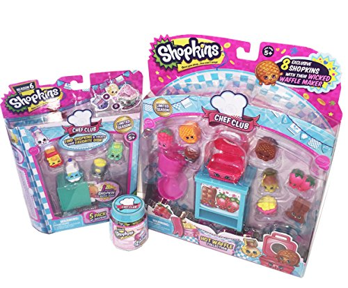 Shopkins Chef Club Hot Waffle Collection with Season 6 Shopkins 5-Pack and 2-Pack Bundle