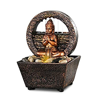 "Small Tranquil Buddha LED Water Fountain 7.2"" High (No Adapter)"