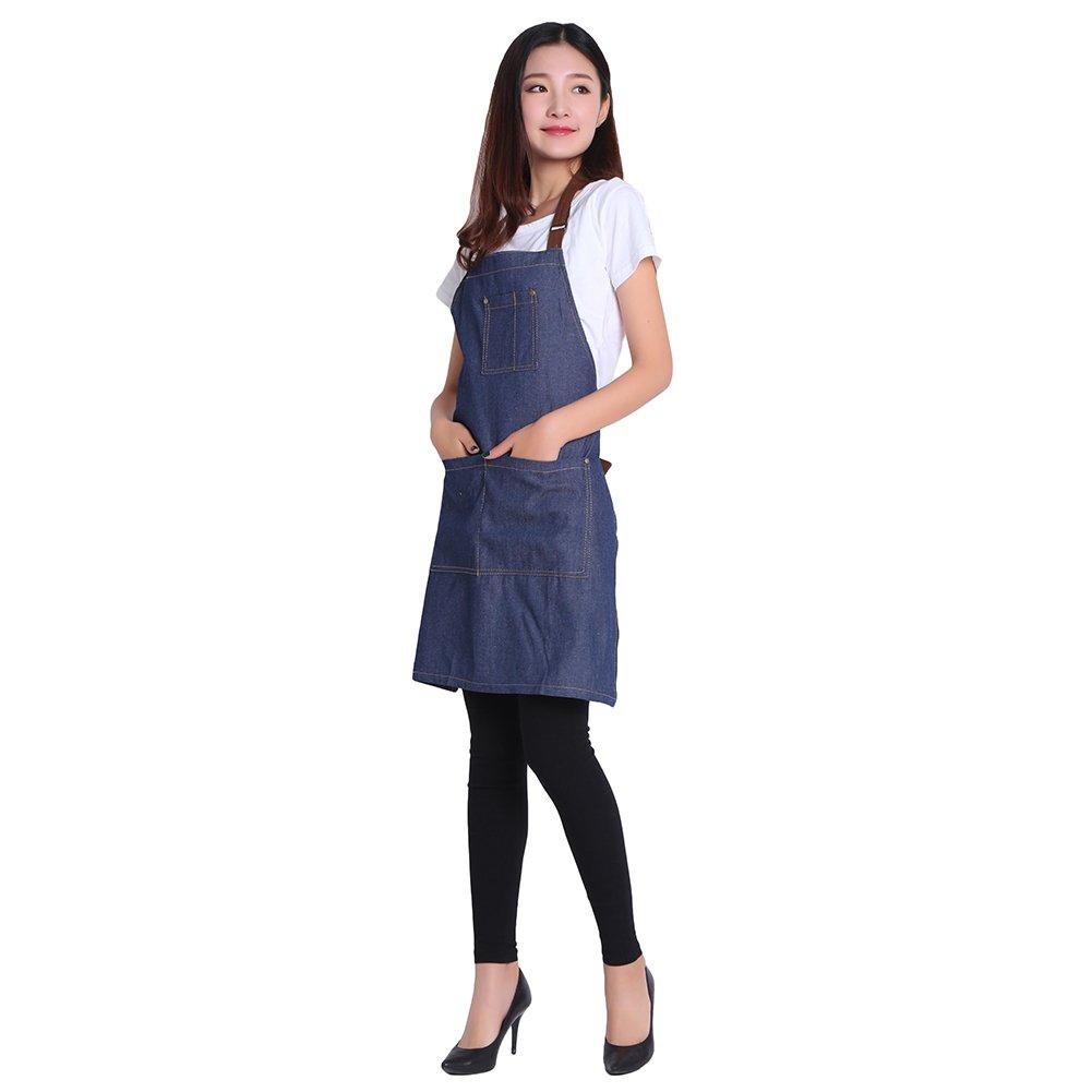 DR.ELK Adjustable Denim Jean Aprons with 3 Pockets for Women Men Chef Barista Bartender Painter in Cooking Kitchen Bistro Cafe,Denim Jean 1,One Size