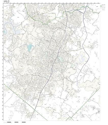 Amazon.com: ZIP Code Wall Map of Austin, TX ZIP Code Map Not ...