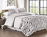 Chezmoi Collection Ella 3-piece Ruffle Waterfall Comforter Set (Full, Grey)