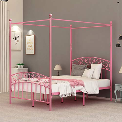 DUMEE Full Size Metal Canopy Bed Frame Platform Sweet Pink Style Mattress Foundation with Headboard and Footboard Girl Princess Beds Box Spring Replacement (Pink, Full-Deluxe)