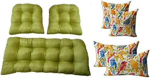 Resort Spa Home 3 Pc Wicker Cushion Set – Kiwi Green Cushions 4 Free White Ash Hill Garden Birds Pillows – Indoor Outdoor Fabric