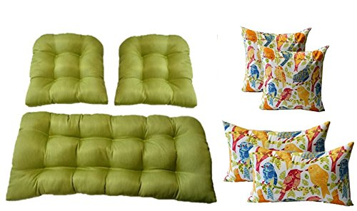 3 Pc Wicker Cushion Set - Kiwi Green Cushions + 4 FREE White Ash Hill Garden Birds Pillows - Indoor / Outdoor Fabric by Resort Spa Home
