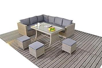 Grande table de jardin en rotin Canapé d\'angle moderne, 3 modulaire ...
