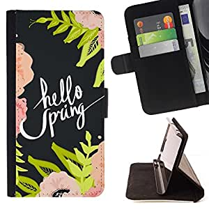 Momo Phone Case / Flip Funda de Cuero Case Cover - Hola Primavera Flores Floral Verde - Samsung Galaxy J1 J100