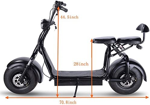 TOXOZERS Adult Citycoco 1000W Fat Tire Scooter with LED Light Electric Power Scooters WERCS Battery Certificate Black