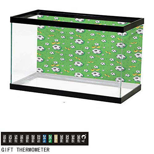 wwwhsl Aquarium Background,Soccer,Professional Player Athletics Pattern Football Shoes Balls on Grass,Lime Green Yellow Black Fish Tank Backdrop 24