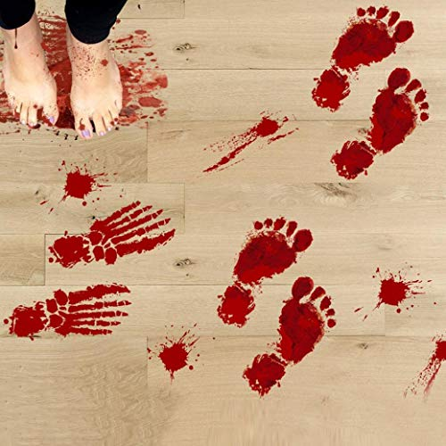 JHKUNO Wall Décor Stickers, Bloody Footprints Floor Clings Halloween Vampire Zombie Party Decor Stickers (A) -