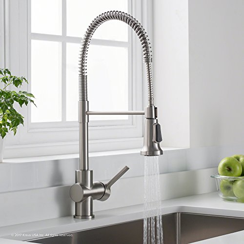Kraus Britt Single Handle Commercial Kitchen Faucet With Dual Function  Sprayhead In All Brite Spot