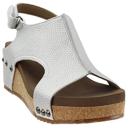 Corkys Volta Wedge Sandal (9, Silver) ()