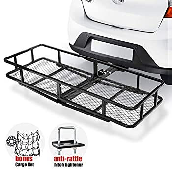 Image of Cargo Baskets FieryRed Hitch Mount Cargo Carrier | Cargo Carrier Hitch Mount Basket - 500lbs Folding Cargo Carrier Luggage Basket with Cargo Carrier Net & Hitch Stabilizer - 1 Year Warranty
