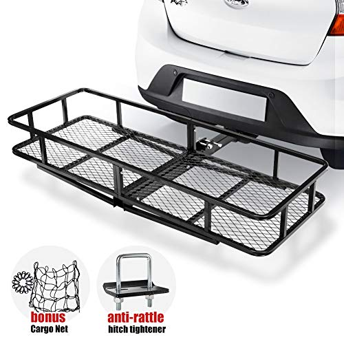 "Hitch Mount Cargo Carrier | Cargo Carrier Hitch Mount Basket - 500lbs Folding Cargo Carrier Luggage Basket with Cargo Carrier Net & Hitch Stabilizer - Thick Steel Constructed Fits to 2"" Receiver"