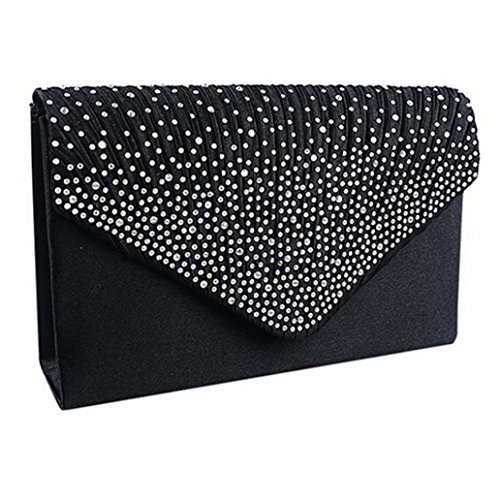 Diamante Prom Ladies Black Envelope Clutch Sexy Evening Handbag Bags Shoulder Party Satin Bag Bolayu Upq8IFwx