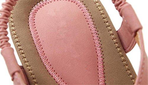 YEEY Ronda de las mujeres peep clip Toe cuentas sandalias elásticas sandalias de playa flip flops zapatos correas Pink