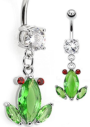 (Belly Button Ring Crystal Frog Dangle Navel Ring 316L Surgical Steel)