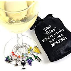 Wine and Grapes Wine Glass Charms, Hand Painted - Set of 6 with Sateen Storage Bag by Cork & Leaf
