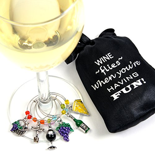 Grape Leaf Wine - Wine and Grapes Wine Glass Charms, Hand Painted - Set of 6 with Sateen Storage Bag by Cork & Leaf