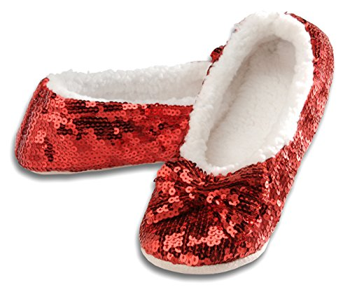 Snoozies Ballerina Bling Metallic Shine Womens Cozy Sequin Slippers