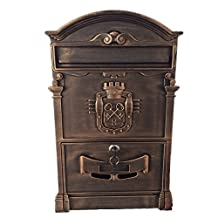 Doitb Mailbox European Style Outside Aluminum Wall Mount Post Box Secure Mailbox Letterbox Outdoor Retro Vintage Mailboxes (Bronze)