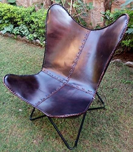 Incredible Antique Art Dark Brown Leather Butterfly Chair/Iron Chair