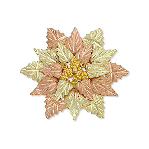 Diamond-Cut Brooch Pendant and Leaves Cluster, 10k Yellow Gold, 12k Green and Rose Gold Black Hills Gold ()