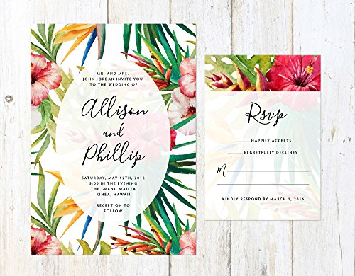 Tropical Flowers Wedding Invitation, Destination Wedding Invitation, Colorful Tropical Wedding Invite by Alexa Nelson Prints