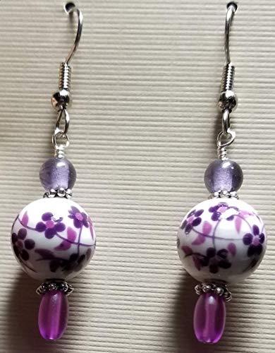 Purple Ceramic Flower Dangle Bead Earring Set (Fish Hooks)