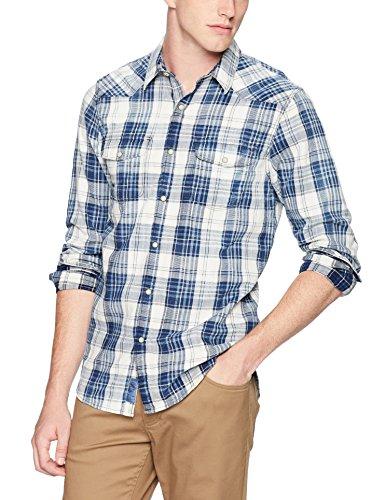 Lucky Brand Men's Casual Long Sleeve Plaid Button Down Western Shirt, Indigo/Natural, M (Western Shirt Lucky Brand)
