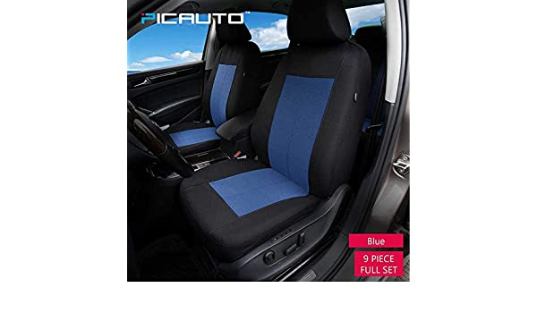 Blue//Black 1 PolyCloth Car Seat Covers Van PIC AUTO SUV Easy Wrap Two-Tone Accent Interior Protection for Auto,Truck