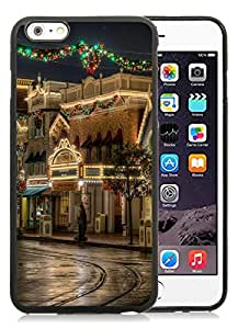 Diy Design iPhone 6 Plus Case,Lovely Christmas Street Black iPhone 6 Plus 5.5 Case 1