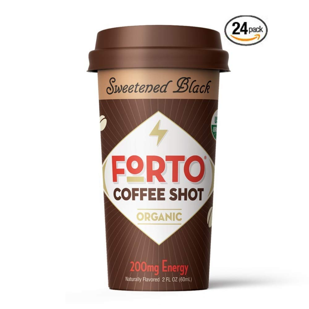 FORTO Coffee Shots - 200mg Caffeine, Sweetened Black, Ready-to-Drink on the go, High Energy Cold Brew Coffee - Fast Coffee Energy Boost, 24 Pack