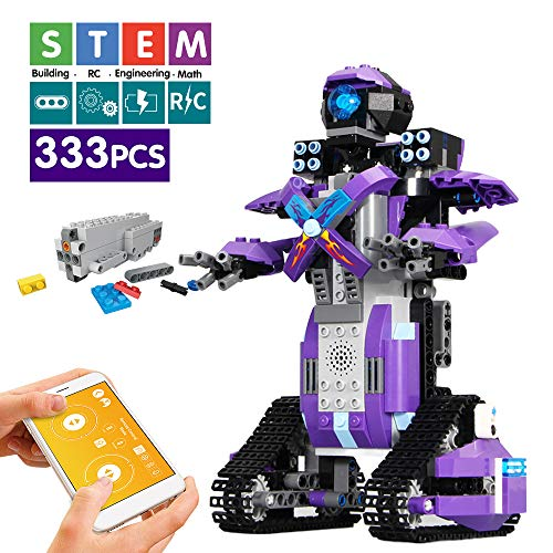 Mould King Remote Control Building Block Robot Educational Electric RC Robot Bricks STEM Toys with LED Intelligent Charging Gift for Boys Girls Age of 6,7,8,9-14 Year Old (Purple)