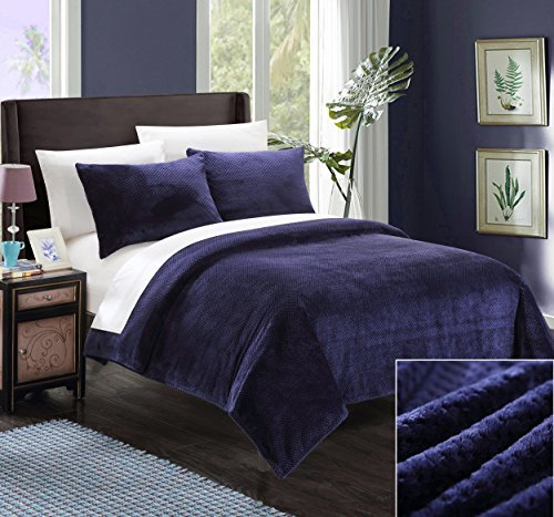 Chic Home SB1686-AN 3 Piece Luxembourg Ultra Plush Micro Mink Waffle Textured Blanket and Shams Set, Full/Queen, Navy