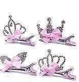 Borang Infant Toddler Girl's Diamond Crown Hair Pin Princess Hair Clips Kids Party Hair Accessory- Set of 4 (Pink)