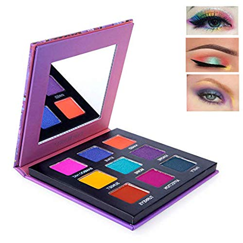 Highly Pigmented Eyeshadow Palette, YMH BEAUTE 9 Bright Colors Eye Shadow Palettes Matte Shimmer Eyeshadow Makeup Palette Colorful Smokey Eye Long Lasting Cosmetics,