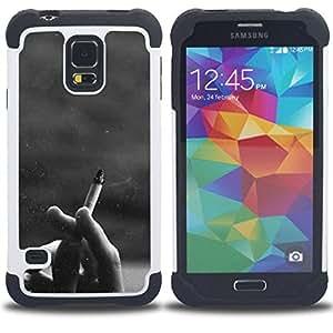 - cigarette black white hipster/ H??brido 3in1 Deluxe Impreso duro Soft Alto Impacto caja de la armadura Defender - SHIMIN CAO - For Samsung Galaxy S5 I9600 G9009 G9008V