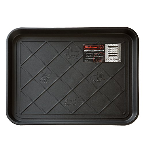 Stalwart 75-ST6013 All Weather Boot Tray-Water Resistant Plastic Utility Shoe Mat for Indoor and Outdoor Use in All Seasons (Black), Small (Rubber Tray Large)