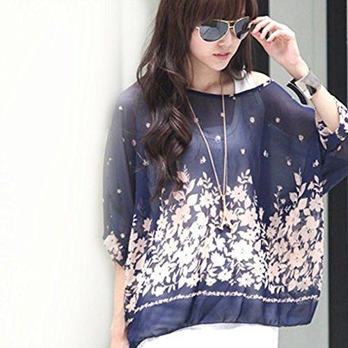 Mujeres Batwing manga de gasa Bohemia playa suelta camisa blusa floral Tops túnica UN1