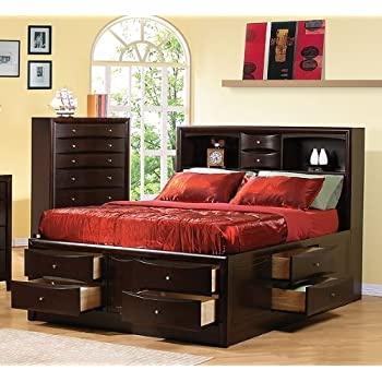 coaster phoenix bookcase storage bed in rich cappuccino finish queen - Bed