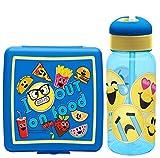 Zak! Design Kids Emojination 3D Resuable Sandwich Container Plus Bonus Emoji Movie Water Bottle With Flip Straw! 2 Pc Set, BPA free