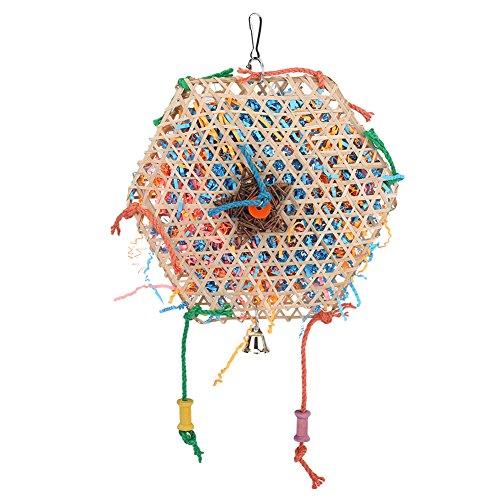 Fdit Juguete de Aves Bambú Natural Juguete para Loro Interactivo Mordedura de Masticar Tiras de Papel Jaula Divertida Colgando Juguetes de Oscilación con Pequeña Campana para Pájaros