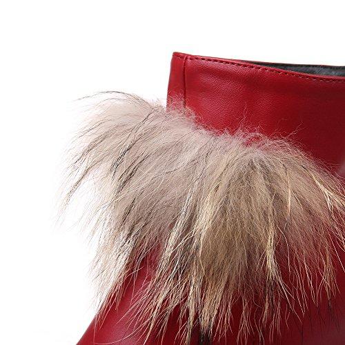 AllhqFashion Damen Rein PU Hoher Absatz Reißverschluss Rund Zehe Stiefel Rot