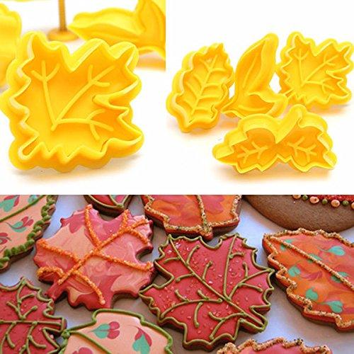 Bazaar 4pcs érable outil gâteau coupe feuille plongeur cookie biscuit fondant moule de cuisson Big Bazaar
