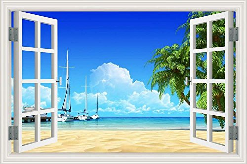 - GreatHomeArt 3D Wall Stickers Beach Removable Decal Murals Window Scenes Sail Boat Peel and Stick Wallpaper Adhesive for Office Wall Decor Art- 32x48 inches